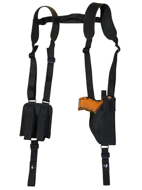 Vertical Shoulder Holster with Double Magazine Pouch for Compact 9mm 40 45 Pistols