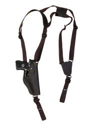 Brown Leather Vertical Shoulder Holster for Full Size 9mm 40 45 Pistols