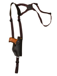 Brown Leather Vertical Shoulder Holster for Compact 9mm 40 45 Pistols