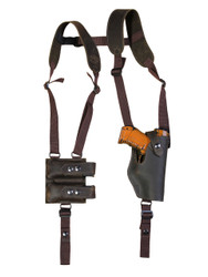Brown Leather Vertical Shoulder Holster with Magazine Pouch for Compact 9mm 40 45