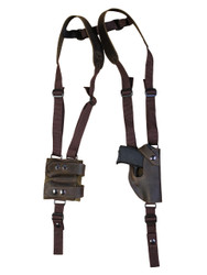 Brown Leather Vertical Shoulder Holster with Magazine Pouch for 380 Ultra Compact 9mm 40 45 Pistols