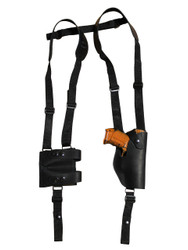 Black Leather Vertical Shoulder Holster with Magazine Pouch for Compact 9mm 40 45 Pistols
