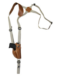 Saddle Tan Leather Vertical Shoulder Holster for 380 Ultra Compact 9mm 40 45 Pistols