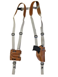 Saddle Tan Leather Vertical Shoulder Holster with Magazine Pouch for 380 Ultra Compact 9mm 40 45 Pistols