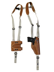 Saddle Tan Leather Vertical Shoulder Holster with Magazine Pouch for Full Size 9mm 40 45 Pistols