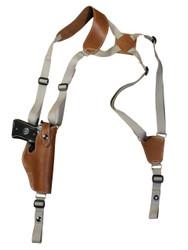 Saddle Tan Leather Vertical Shoulder Holster for Full Size 9mm 40 45 Pistols