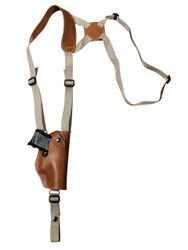 Saddle Tan Leather Vertical Shoulder Holster for Compact 9mm 40 45 Pistols