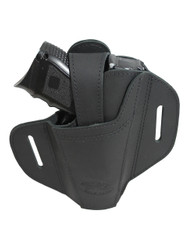 Ambidextrous Black Leather Pancake Holster for Compact Sub-Compact 9mm 40 45 Pistols