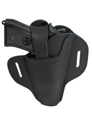 Ambidextrous Black Leather Pancake Holster for Full Size 9mm 40 45 Pistols