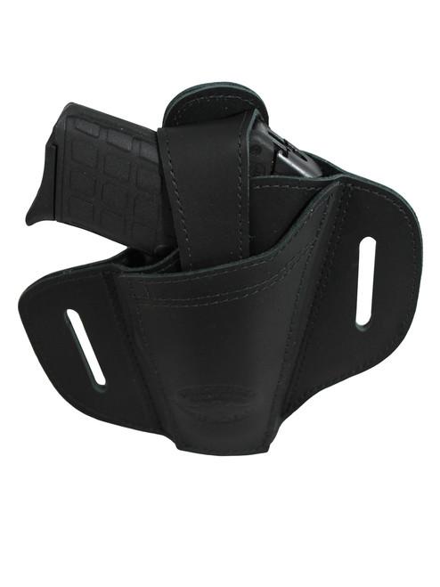 Black Leather Ambidextrous Pancake Holster 380, Ultra Compact 9mm 40 45 Pistols