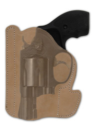 "Natural Tan Leather Ambidextrous Pocket Holster for 2"", Snub Nose .38 .357 Revolvers"