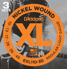 D'Addario EXL110-3D Nickel Wound Regular Light Electric Strings 10-46 - 3 Pack