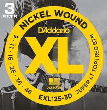 D'Addario EXL125-3D Nickel Wound Super Light Top/ Regular Bottom 9-46 - 3 Pack