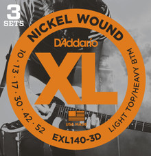 D'Addario EXL140-3D Nickel Wound Light Top/Heavy Bottom 10-52 Strings - 3 Pack