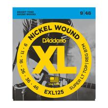 D'Addario EXL125 Super Light Top Regular Bottom .009 - .046 Nickel Wound Electric Guitar Strings