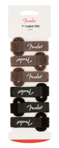 "Fender 7"" Cable Ties 6-Pack - Black and Brown"