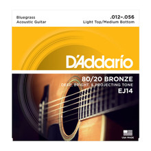D'Addario EJ14 Light Top/Medium Bottom/Bluegrass .012 - .056 80/20 Bronze Acoustic Guitar Strings