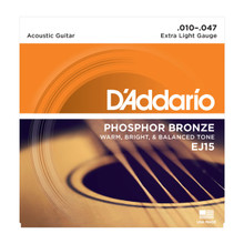 D'Addario EJ15 Extra Light .010 - .047 Phosphor Bronze Acoustic Guitar Strings