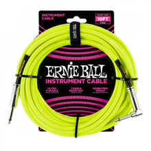 Ernie Ball Cable - 25' Braided Straight-Angle Neon Yellow