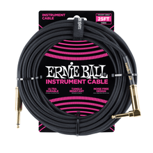 Ernie Ball Cable - 25' Straight - Angle Braided Black