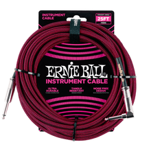 Ernie Ball Cable - 25' Straight - Angle Braided Red