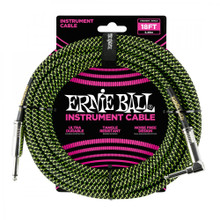Ernie Ball Cable - 25' Braided Straight-Angle Black Green