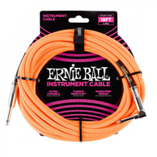 Ernie Ball Cable - 25' Braided Stright-Angle Neon Orange