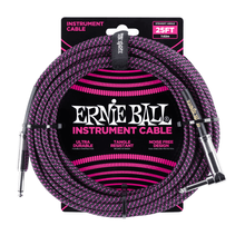 Ernie Ball Cable - 25' Straight - Angle Braided Bk/Pp