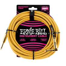 Ernie Ball Cable - 25' Straight - Angle Braided Gold