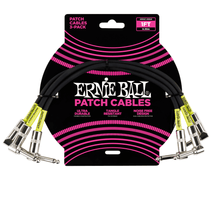 Ernie Ball Cable - 1' Patch Black 3-Pack