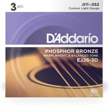 D'Addario - EJ26-3D Phosphor Bronze 11-52 3-Pack