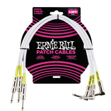 Ernie Ball Cable - 1.5' Straight - Angle Patch White 3-Pack