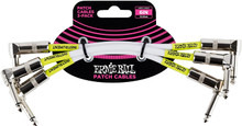 """Ernie Ball Stage And Studio Patch Cable, 2-1/4"""" Right, White, 6in Angled"""