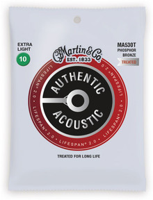 Martin MA530T Lifespan Treated Phosphor Bronze Authentic Acoustic Guitar Strings Extra Light 10-47