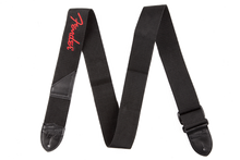 Fender Black Polyester Red Logo Guitar Strap