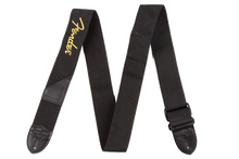 Fender Black Polyester Yellow Logo Guitar Strap