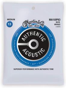 Martn MA150PK3 Authentic Acoustic SP 80/20 Bronze Strings Triple Pack - 13-56