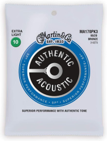 Martn MA170PK3 Authentic Acoustic SP 80/20 Bronze Strings Triple Pack - 10-47