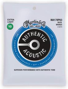 Martn MA170PK3 Authentic Acoustic SP 80/20 Bronze Strings Triple Pack - 10-47