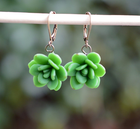 Green succulent Simple Dangle Earrings