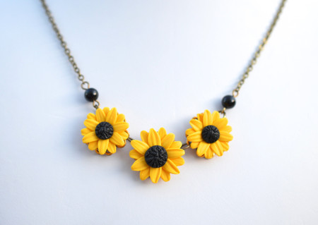 Trio Yellow Sunflower Statement  Necklace