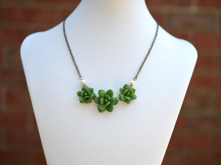 Trio Green Succulents Statement Necklace