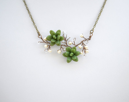 Emily Green Succulents Vine Necklace