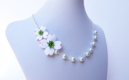 Jayden Double Flowers Asymmetrical Necklace in White Dogwoods. FREE EARRINGS