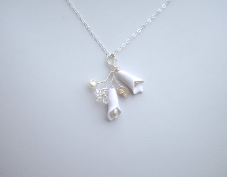 Diana Drop Necklace in White Calla Lily with Sterling Silver Chain
