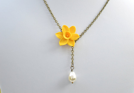 Helena Drop Necklace in Golden Yellow Daffodil with Pearl