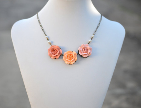 Peach Rose Satement  Necklace