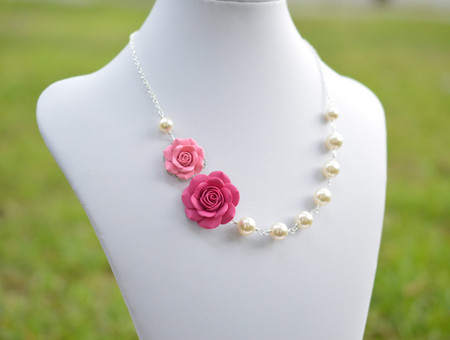 Celine Double Flower Asymmetrical Necklace in Pink Rose. FREE EARRINGS
