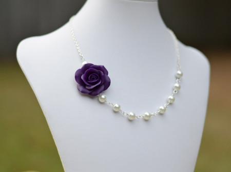 Jessica Asymmetrical Necklace in Deep Purple Rose. FREE EARRINGS