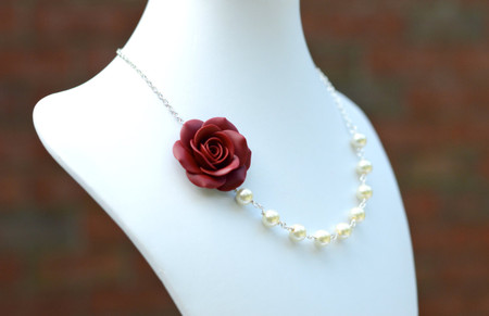 Jessica Asymmetrical Necklace in Red Garnet Rose. FREE EARRINGS